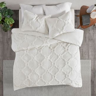 3pc King/California King Leena Cotton Geometric Duvet Cover Set White