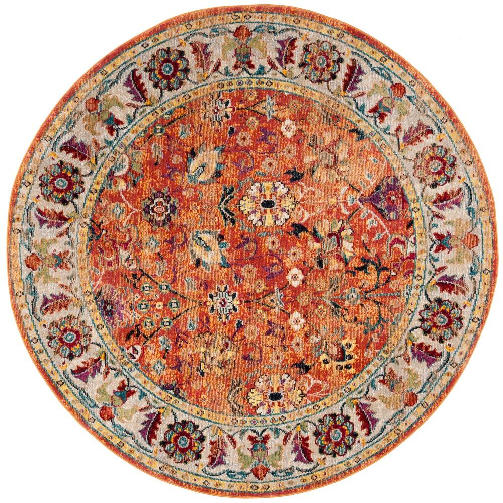 7' Floral Loomed Round Area Rug Orange - Safavieh