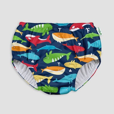 i play by green sprouts Baby Boys' Pull-up Swimsuit Diaper - Navy Whale League 6M