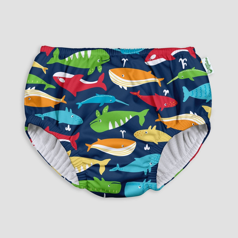 Image of i play by green sprouts Baby Boys' Pull-up Swimsuit Diaper - Navy Whale League 12M, Size: 6-12M, Blue