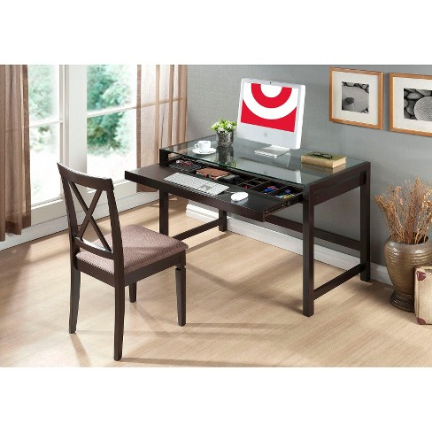 Idabel Modern Desk with Glass Top Wood/Dark Brown - Baxton Studio - image 1 of 1