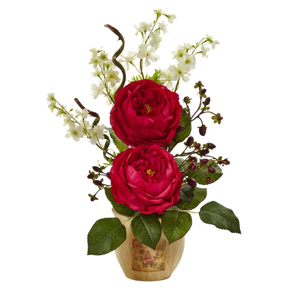 Large Rose & Dancing Daisy in Wooden Pot - Nearly Natural, Red