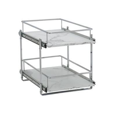"""Household Essentials 14.5"""" Dual Slide Extended Cabinet Organizer Silver"""