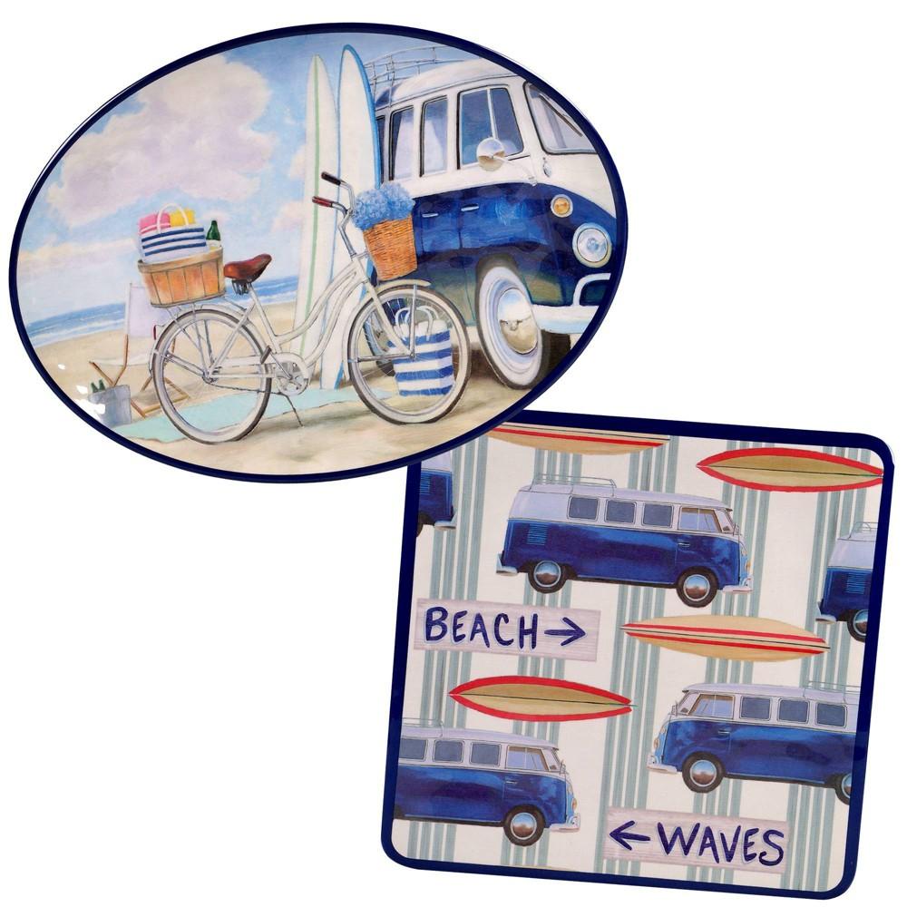 Image of 2pc Melamine Beach Time Serving Platter Set - Certified International