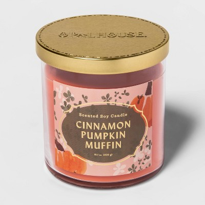 15.1oz Lidded Glass Jar 2-Wick Cinnamon Pumpkin Muffin Candle - Opalhouse™