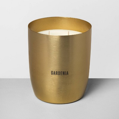 25oz Large Brass 2-Wick Candle Gardenia - Hearth & Hand™ with Magnolia