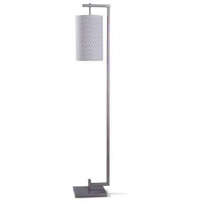 Steel Floor Lamp with Hanging Cylinder Designer Pattern Shade Silver - StyleCraft