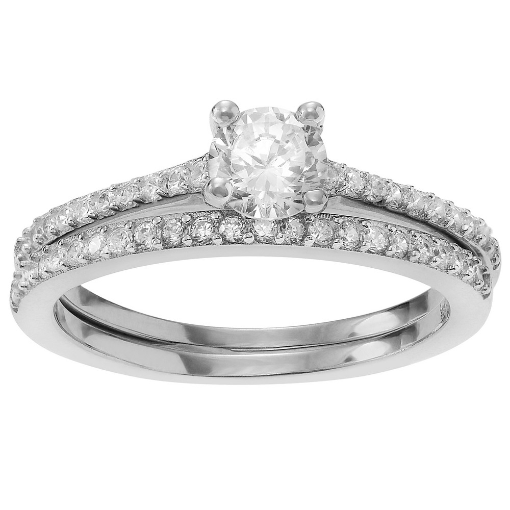 7/8 CT. T.W. Round-cut Cubic Zirconia Bridal Prong Set Ring Set in Sterling Silver - Silver, 6, Girl's