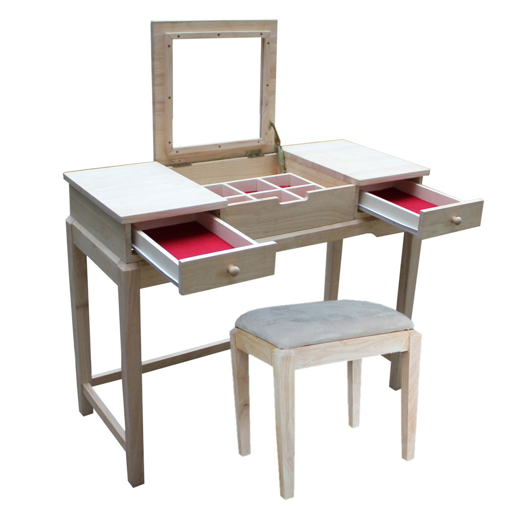 Vanity Table with Vanity Bench Unfinished - International Concepts