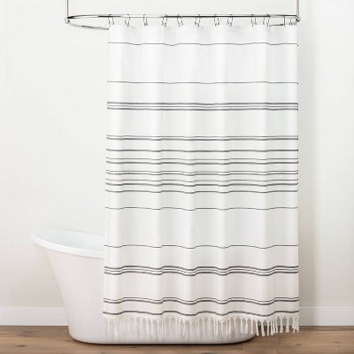 Stitch Stripe Shower Curtain Sour Cream/Railroad Gray - Hearth & Hand™ with Magnolia