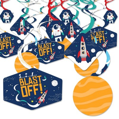 Big Dot of Happiness Blast Off to Outer Space - Rocket Ship Baby Shower or Birthday Party Hanging Decor - Party Decoration Swirls - Set of 40