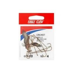 Eagle Claw Bronz Cricket Hooks 10Pk Size4