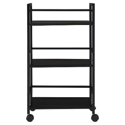 Trinity 3 Shelf Metal Rolling Utility Cart - Black - Room & Joy