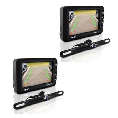 Pyle Waterproof Adjustable Angle Wireless Night Vision Rearview Backup Car Camera and Monitor System 4.3 Inch Display and Parking Assist (2 Pack)
