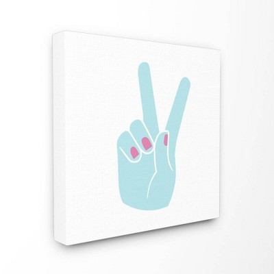 """7""""x0.5""""x17"""" Peace Hand Teal with Pink Nail Polish Stretched Canvas Wall Art - Stupell Industries"""