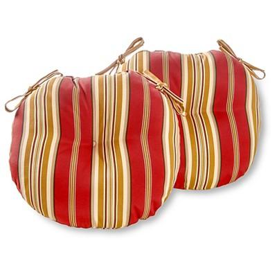 "Set of Two 15"" Roma Stripe Outdoor Bistro Chair Cushions - Kensington Garden"