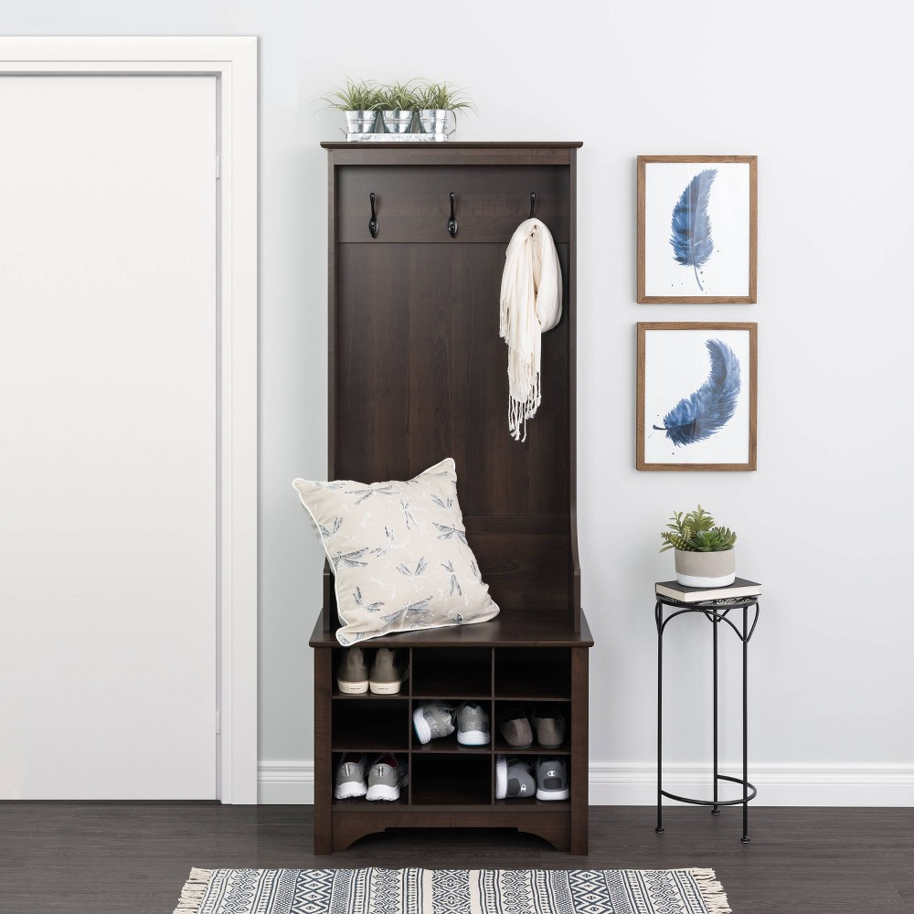 """Image of """"27"""""""" Narrow Hall Tree with 9 Shoe Cubbies Espresso - Prepac, Brown"""""""