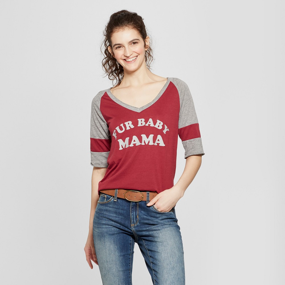 Women's 3/4 Sleeve Faux Fur Baby Mama Graphic T-Shirt - Fifth Sun (Juniors') Burgundy L, Red