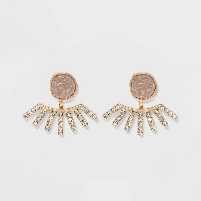 SUGARFIX by BaubleBar Crystal with Druzy Earrings - Light Gray