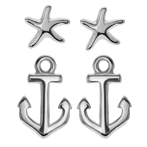 Women's Journee Collection Anchor Starfish Stud Earrings Set in Sterling Silver - Silver - image 1 of 2