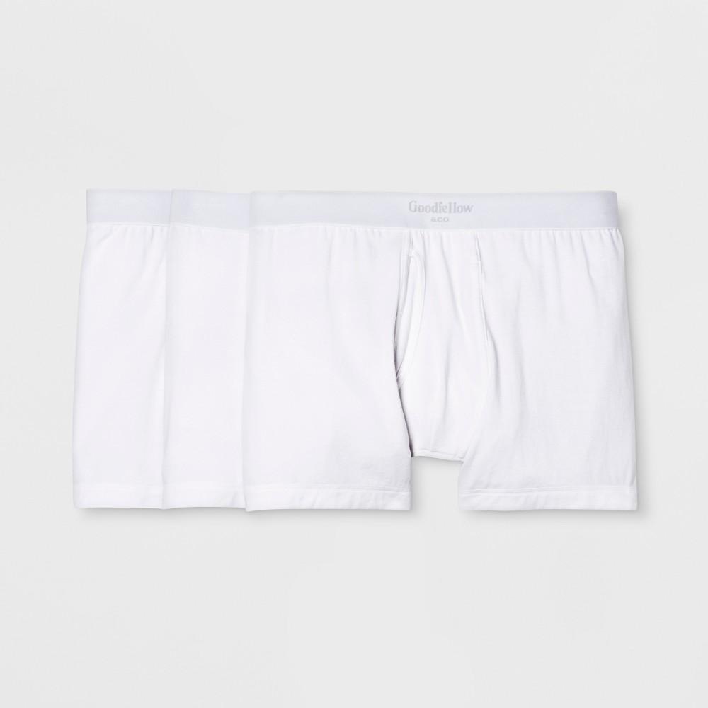 Men's Premium Knit 3pk Boxer Briefs - Goodfellow & Co White 2XL, Men's was $18.99 now $9.99 (47.0% off)