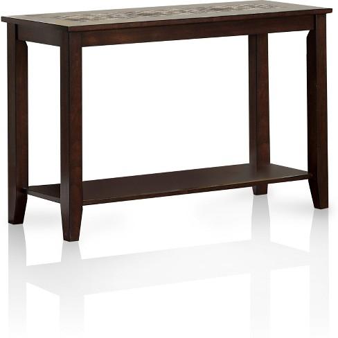 Melton Tiled Insert Sofa Table Dark Cherry - Sun & Pine - image 1 of 3