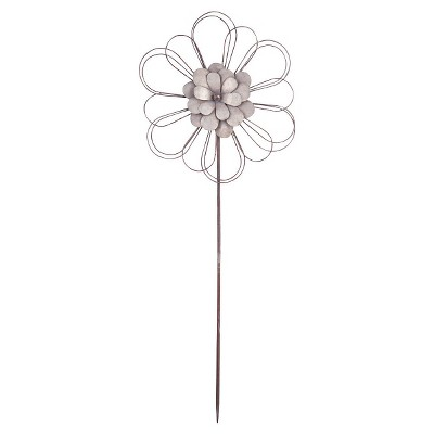 45.5  Large Ashville Flower Garden Stake - Silver - Foreside Home & Garden