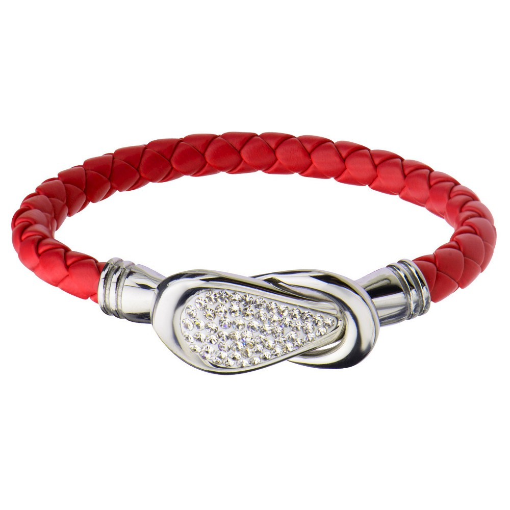 Women's Steel Art Red Italian Leather Bracelet with Preciosa Crystals Magnetic Closure (7.25)