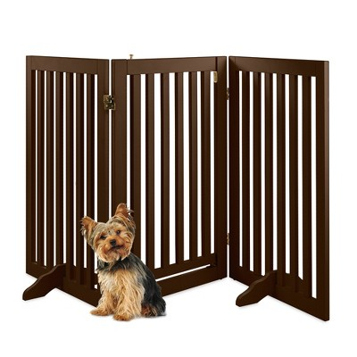 Best Choice Products 31.5in 3-Panel Freestanding Wooden Pet Gate w/ Walk Through Door, Adjustable Pen