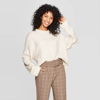 A New Day Women's Casual Fit Long Sleeve Crewneck Pullover Sweater (Cream)