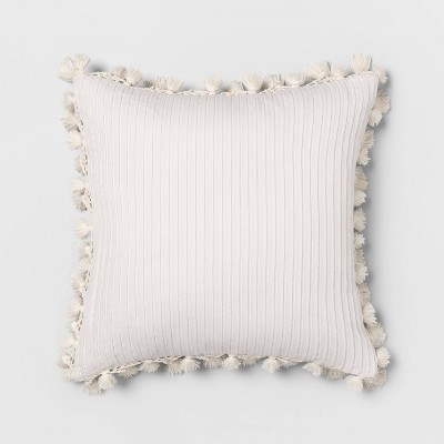 Square Solid Pillow with Fringe White - Opalhouse™