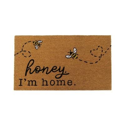 "Farmhouse Living Honey I'm Home Bee Coir Doormat - 18"" x 30"" - Natural - Elrene Home Fashions"