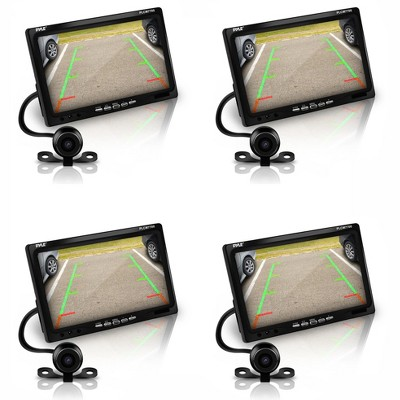 Pyle PLCM7700 7 Inch LCD Display Waterproof Rearview Car Backup Camera and Monitor Parking Reverse Assist System with Night Vision, Black (4 Pack)