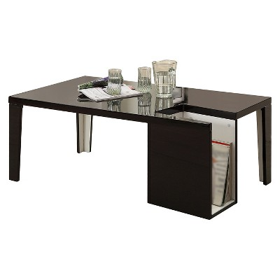 Simone Glossy Modern Coffee Table with Magazine Slot Black - HOMES: Inside + Out
