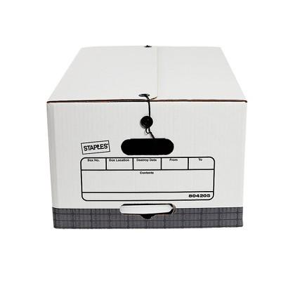 Staples Medium Duty String & Button Corrugated Boxes Ltr/Lgl White/Gray 4/PK 804205