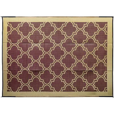 Camco 42857 9 by 12 Foot Reversible Brown Tan Lattice Design Breathable Portable Outdoor UV Coated Patio Mat Pad for Picnics and Camping