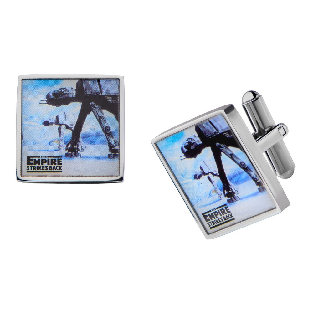 Image of Men's Star Wars ATAT Graphic Stainless Steel Square Cufflinks, Size: Small, Silver