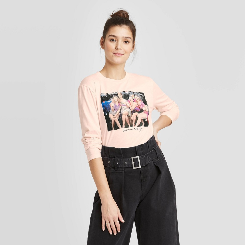 Image of Women's HBO Sex and the City Long Sleeve Graphic T-Shirt (Juniors') - Light Pink L, Women's, Size: Large