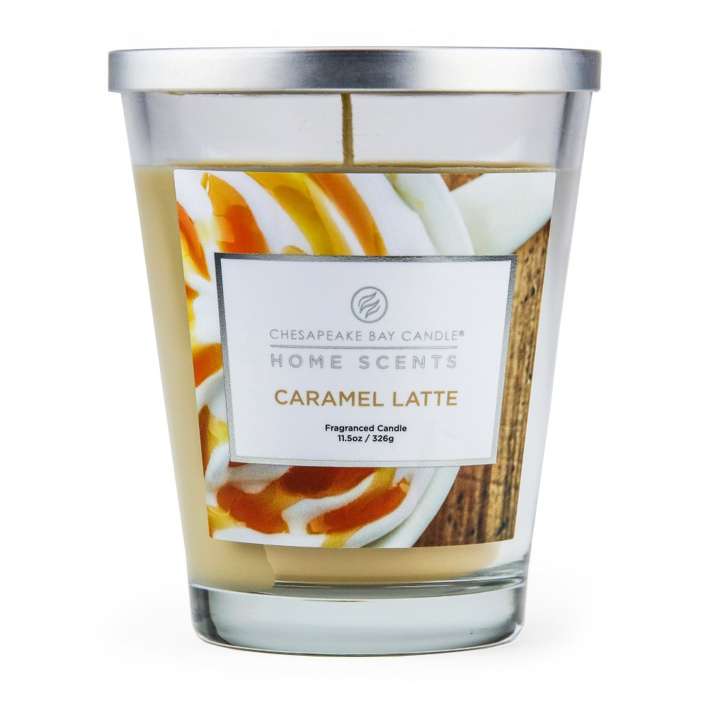 Image of 11.5oz Lidded Glass Jar Candle Caramel Latte - Home Scents by Chesapeake Bay Candle, Brown