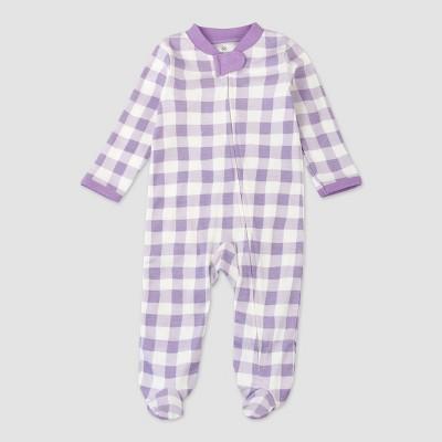Honest Baby Girls' Organic Cotton Painted Buffalo Sleep N' Play - Purple
