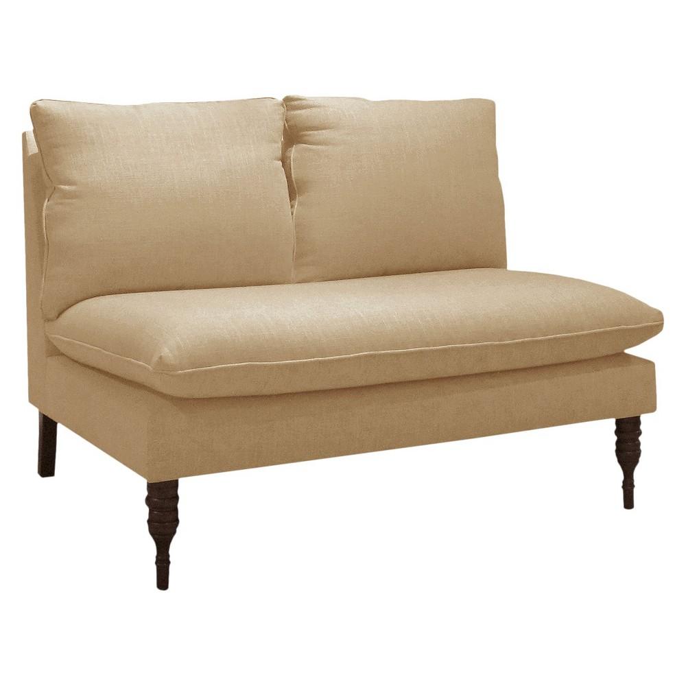 Skyline Custom Upholstered Armless Loveseat - Skyline Furniture, Linen Sandstone