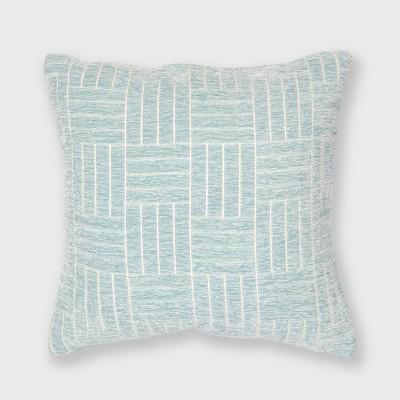 """18""""x18"""" Staggered Stripe Chenille Woven Jacquard Throw Pillow Sterling Blue - Freshmint"""