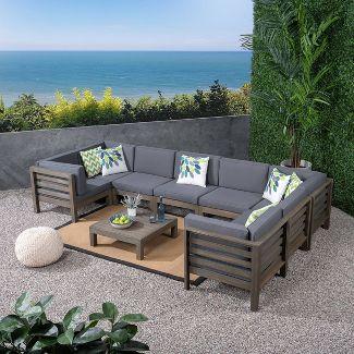 Oana 9pc Acacia Wood U-Shaped Sectional Sofa Set - Gray/Dark Gray - Christopher Knight Home