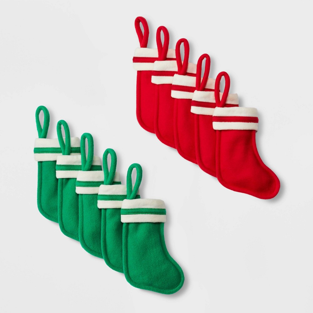 Image of 10ct Mini Felt Christmas Stocking Red and Green - Wondershop , Green Red