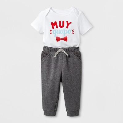 Baby Boys' Short Sleeve Bodysuit and Pants Set - Cat & Jack™ White/Gray 18M