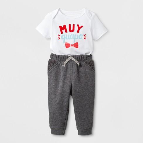 Baby Boys' Short Sleeve Bodysuit and Pants Set - Cat & Jack™ White/Gray 0-3M - image 1 of 2
