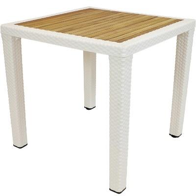 """Square 32"""" All-Weather Plastic Patio Table with Faux Wicker Design - Cream - Sunnydaze Decor"""