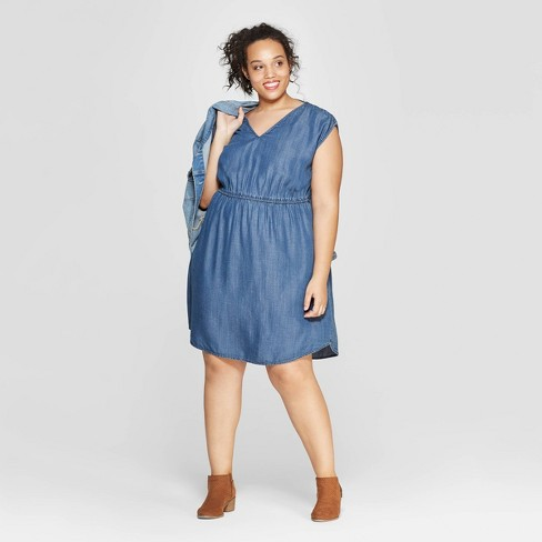 Women s Plus Size Short Sleeve V-Neck Cinched Waist Dress - Universal Thread ™ 1386b5d1a