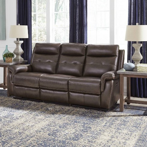 Lux Leather Power Motion Reclining Sofa Brown - Home Styles