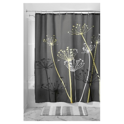 Shower Curtain Interdesign Floral Gray Yellow